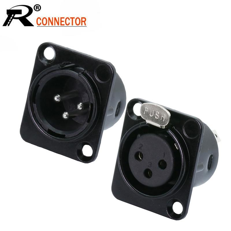 10 unids/lote 3 pines XLR macho/hembra Panel de montaje de Metal Shell niquelado 3 polos XLR chasis del zócalo MIC conector de micrófono