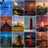 nordic lighthouse night view diamond painting 5d diy wall art simple architecture diamond embroidery inlaid home room decoration