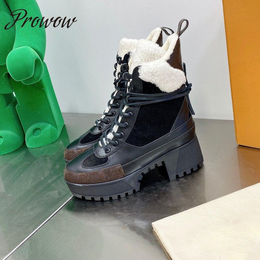 Prowow جديد جلد طبيعي الأغنام الصوف الأحذية الدافئة مثير منصة فاخرة مصمم حذاء من الجلد أحذية النساء Zapatos Mujer