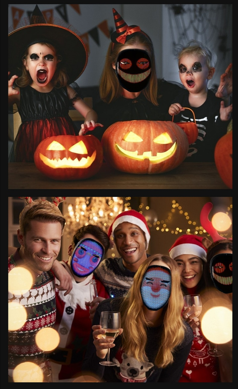 Full Color LED Luminous Mask Halloween Christmas Party Bluetooth App Gesture Face Changing Mask With Screen Supports DIY Music