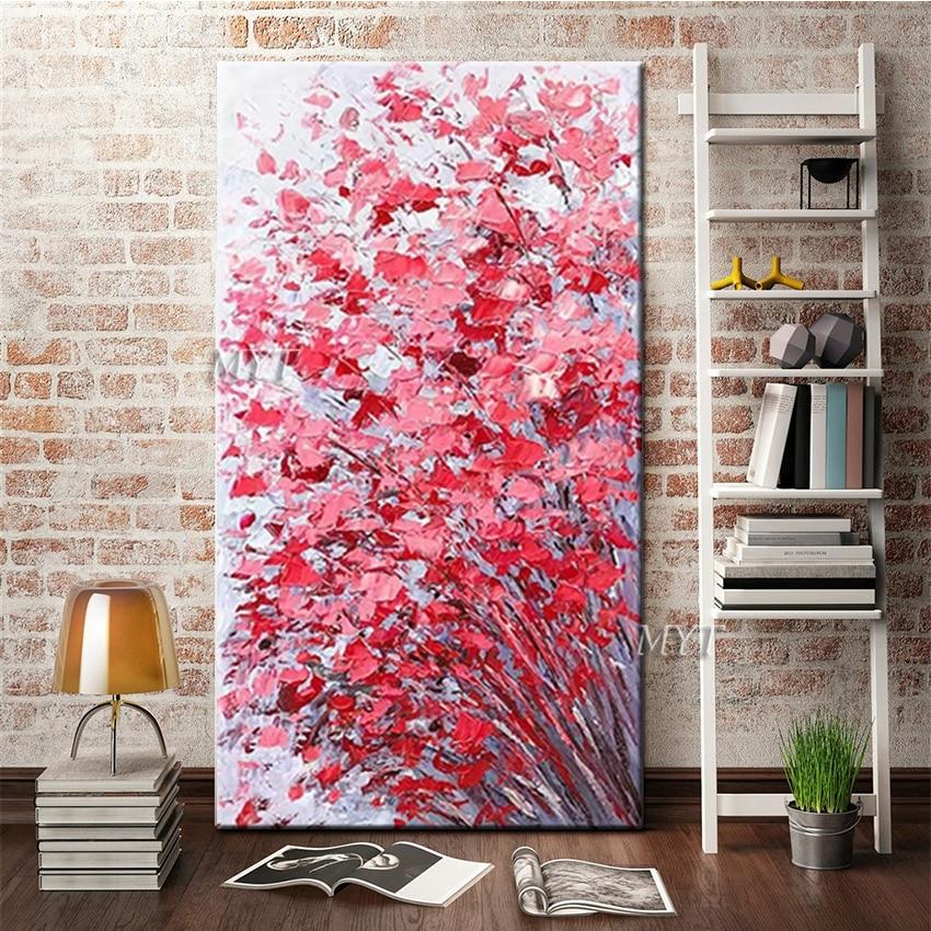 100% artesanal texturizado 3d grosso flor arte pintura a óleo da parede da lona arte arte da parede pendurado fotos sem moldura decoração casa peça