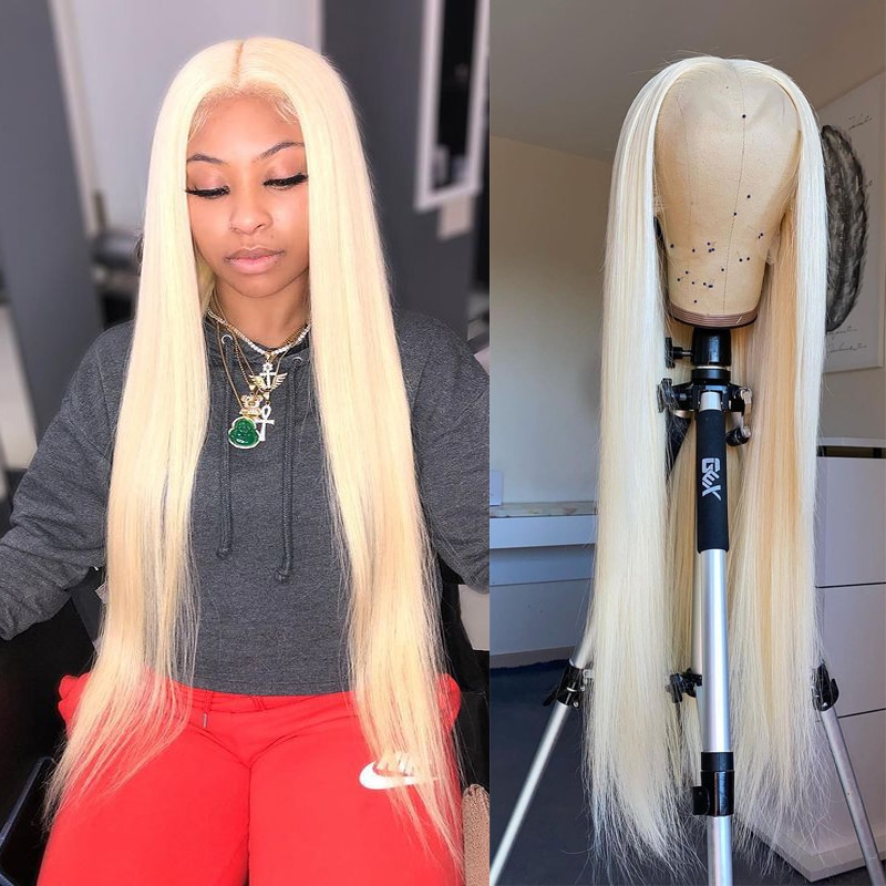 613 Lace Frontal Wig 30 Inch Bone Straight Human Hair Short Bob Wigs For Black Women T Part Honey Blonde Body Wave Front Wig