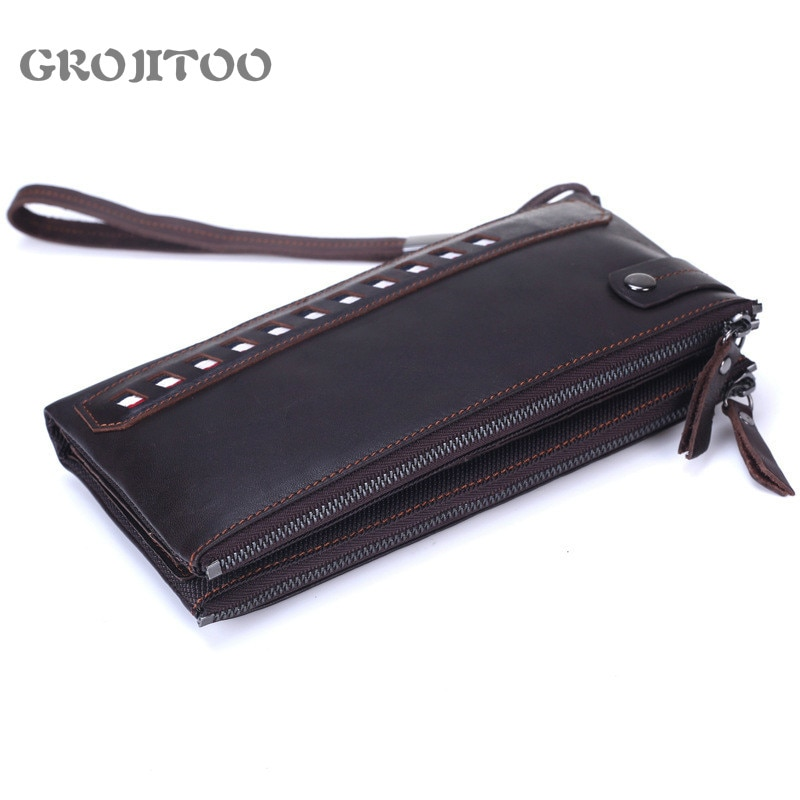 GROJITOO Men's First Layer Cowhide Handbag Double Zipper Leather Long Wallet Soft Leather Business W