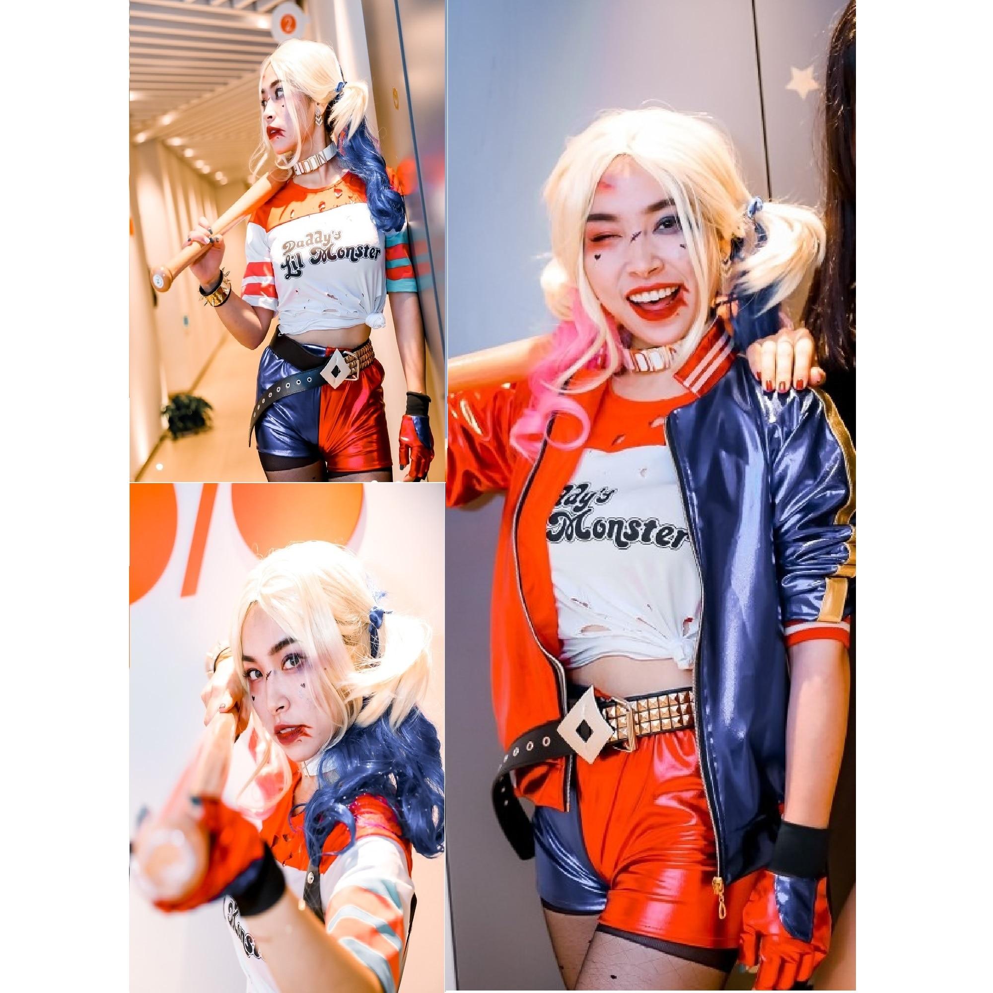 Harleen Wig Suicide Cosplay Costumes Harley Squad Quinn Monster T Shirt Coat Jacket Pants Bracelet Belt Necklace Gloves Accessor