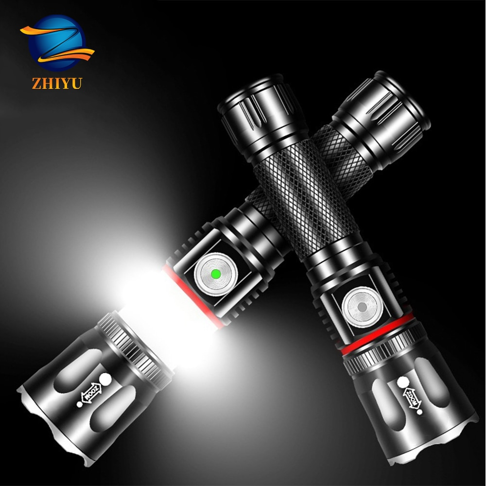 ZHIYU T6 Cob Flashlight 2000 Lumen Tail Magnet Adsorption Work Lamp Use 18650 Lithium Battery Waterp
