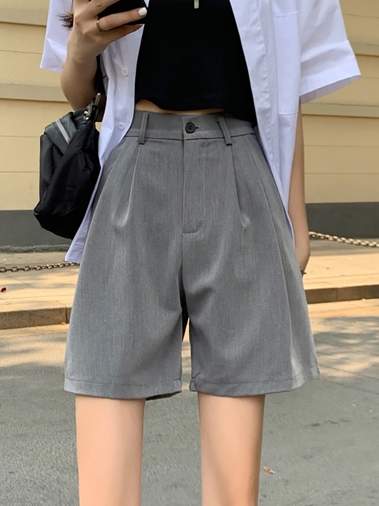 Capris Summer 2021 New High Waist Drop Pants Thin Wide Leg Suit Pants Casual Pants Grey Shorts Women