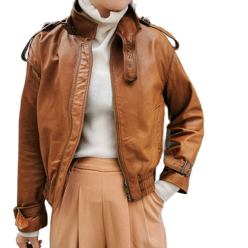 genuine leather women jacket Selling women Sheepskin jacket leather clothes for women long leather jacket  women biker jacket