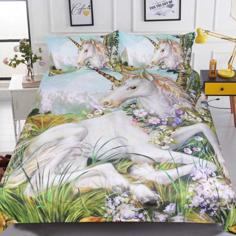 40 زهرة مطبوعة ثلاثية الأبعاد طقم سرير البوليستر الأطفال الحيوان حاف الغطاء مع المخدة 3 قطعة التوأم واحدة مزدوجة 220x240