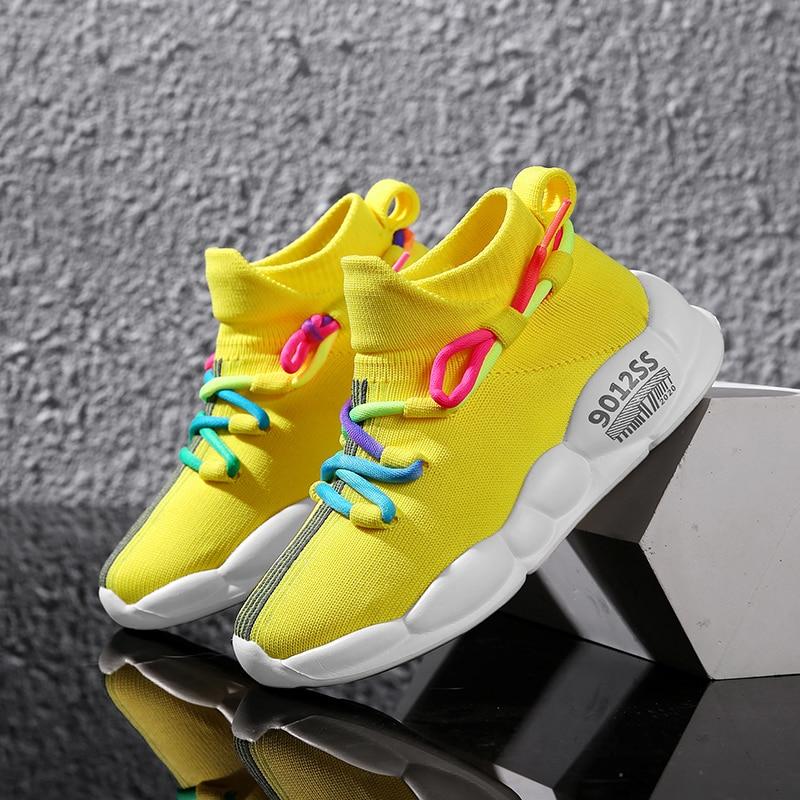 Детская обувь на весну и лето, разноцветные вязаные кроссовки для мальчиков и девочек, повседневная обувь, нескользящий светильник, спортив...