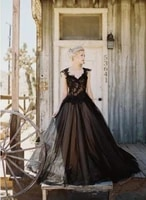 gothic wedding dresses tulle lace applique sweetheart a line beaded backless long bridal dress black wedding gowns