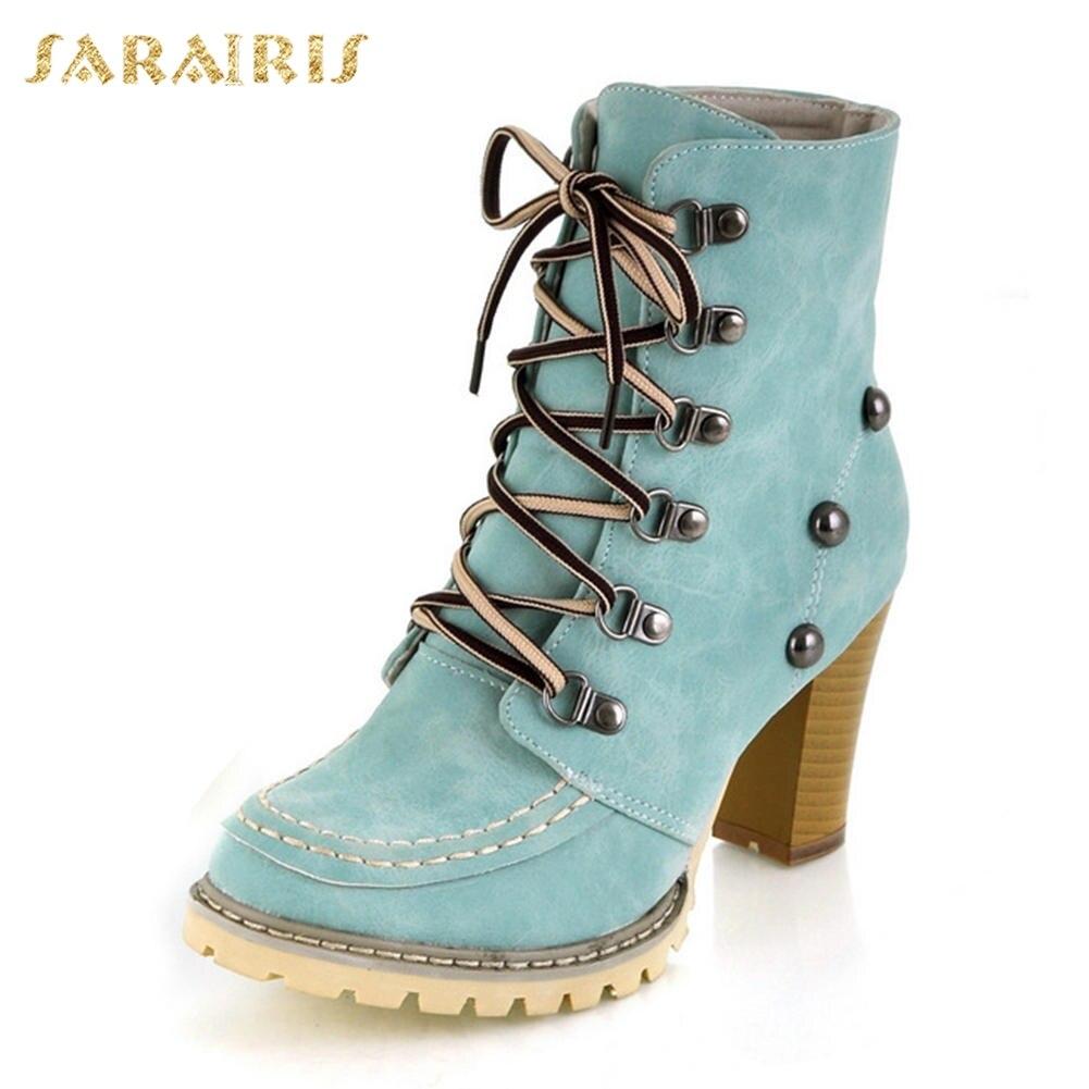 Triangulación de envíos 2020, gran tamaño, 43, zapatos de tacón alto, botines de invierno, botas de mujer Vintage con cordones, plataforma, botas occidentales de estilo gitano