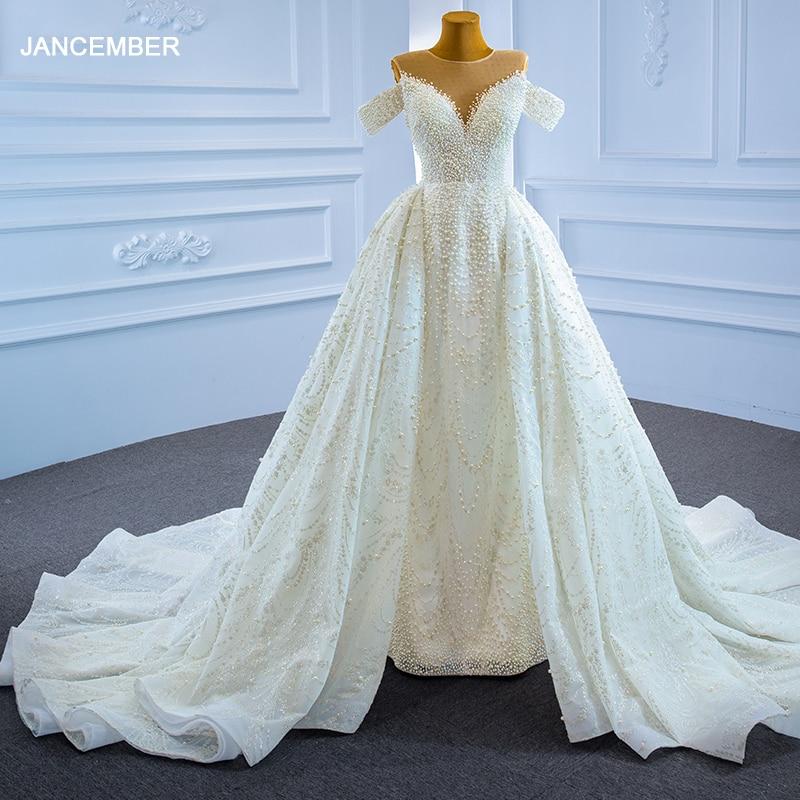RSM67264 الفاخرة مثير الأبيض الزفاف الزفاف اللباس الرتوش الكتف مطرز مطرزة مأدبة الزفاف تنورة свадьба платье