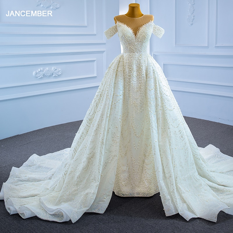 RSM67264 Luxury Sexy White Bridal Wedding Dress Frill Shoulder Beaded Sequined Banquet Wedding Skirt свадьба платье