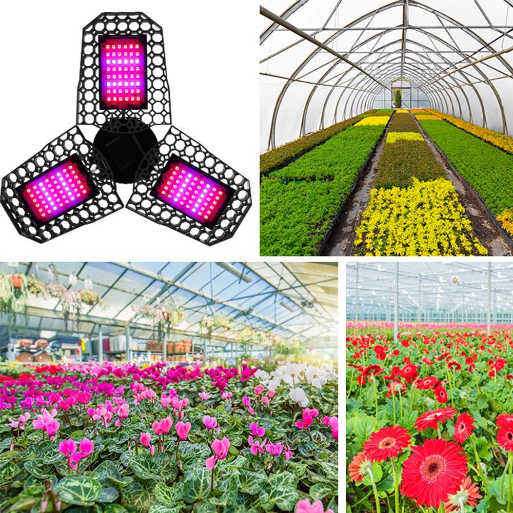 LED Grow Light E27 Plants Lamps Three Leaf Folding Deformation Flower Plant Lighting Planting Nursery Supplement Lights
