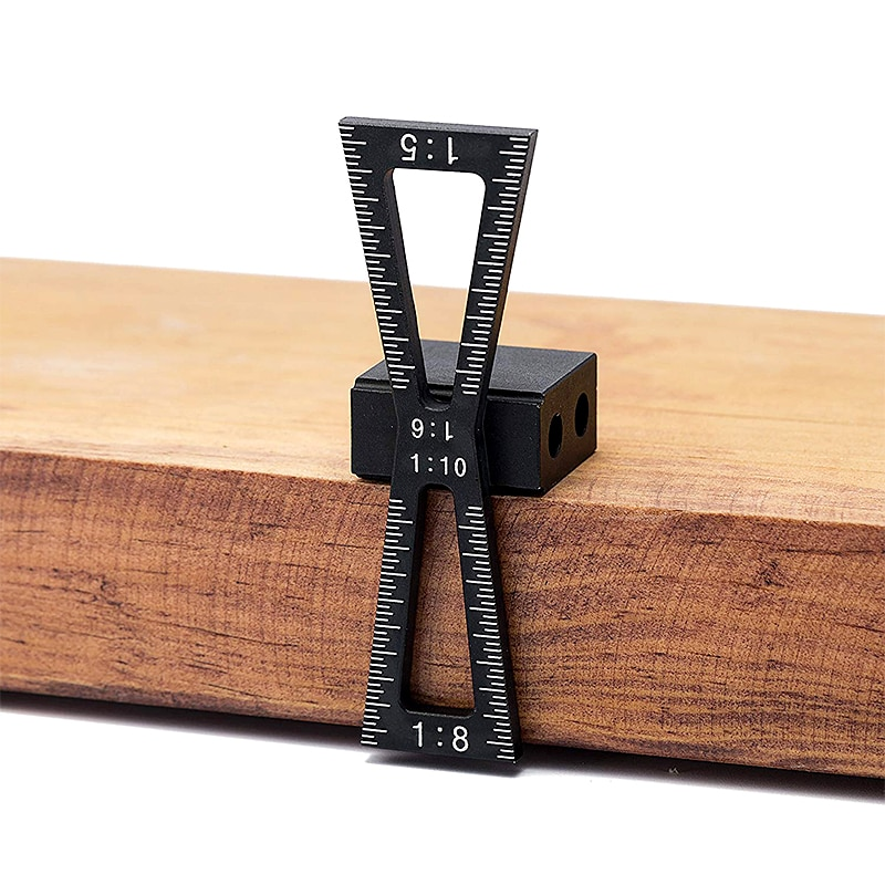 Dovetail Marker Gauge Aluminum Alloy Hand Cut Wood Joints Guide Tool with Scale Template Size 1: 5 8 1:10 1:6