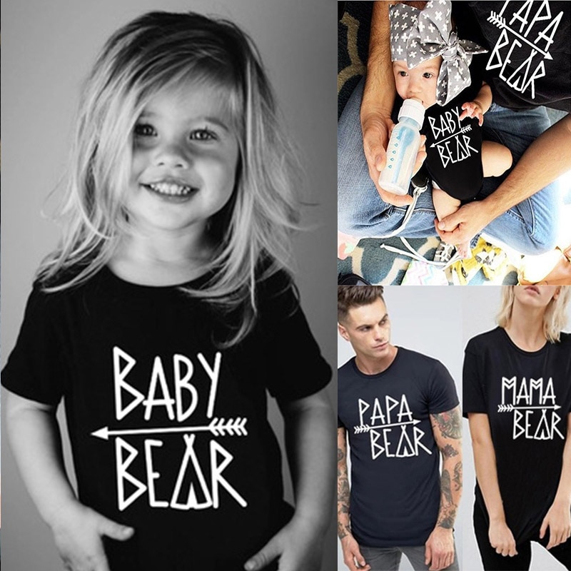 Camisetas familiares Papa Bear Mama Bear Baby Bear Camiseta con estampado de letras para padres e hijos camisetas de manga corta conjunto familiar Tops