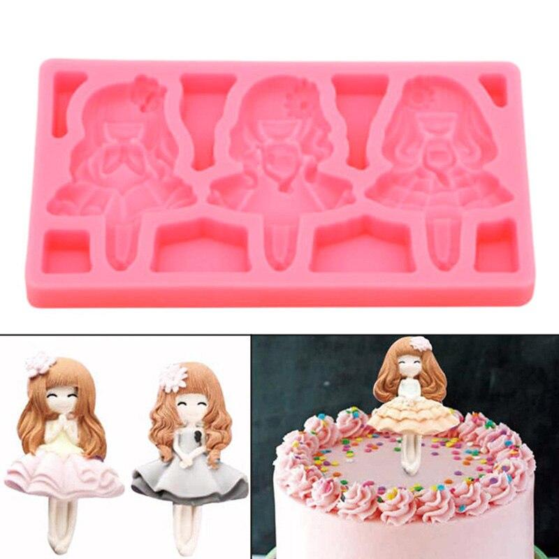 Belleza chica princesa silicona Fondant 3D pastel molde gelatina caramelo Chocolate decoración hornear herramienta bandeja pastel molde herramientas de decoración- 30
