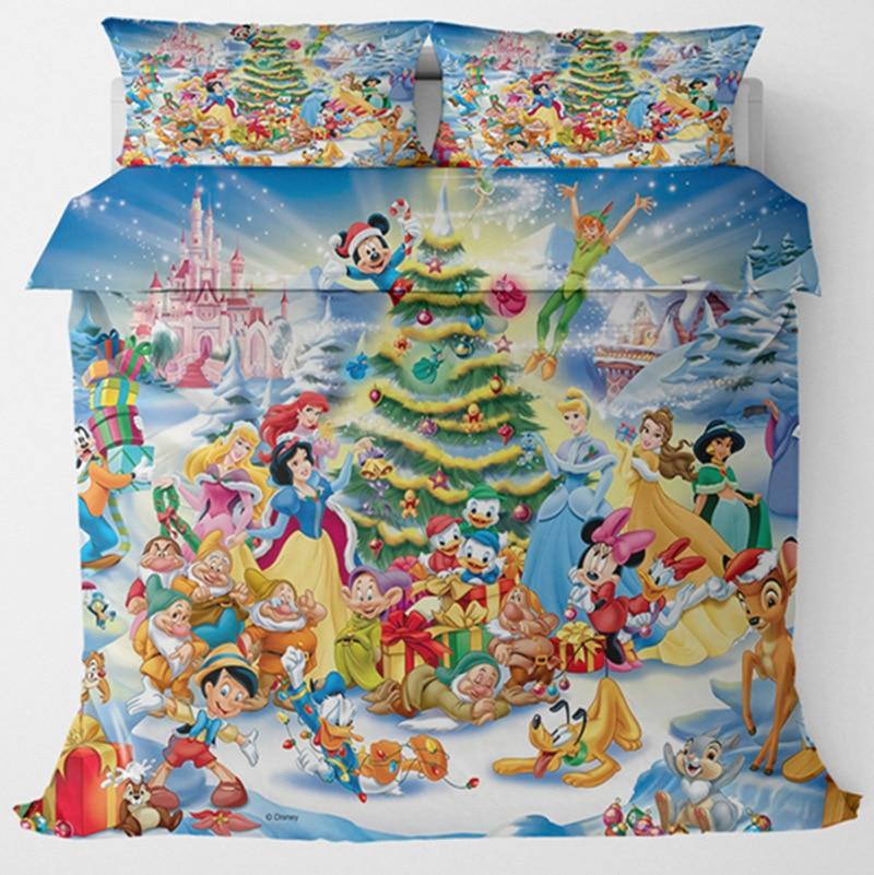طقم أغطية سرير ديزني كريسماس ، بياض الثلج ، أميرة ، ملكة ، غطاء لحاف ، غرفة نوم أطفال ، طقم سرير فاخر