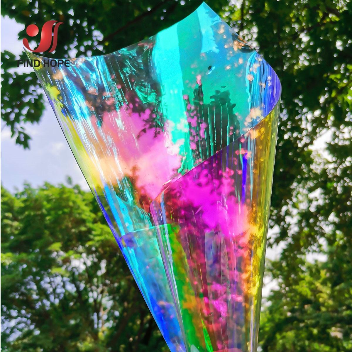 Film Holographique Irisé Au Laser Tissu Pvc Transparent Cuir Film Arc En Ciel Matériel Vinyle Brillant Bricolage Sac Artisanal à Nœud Aliexpress