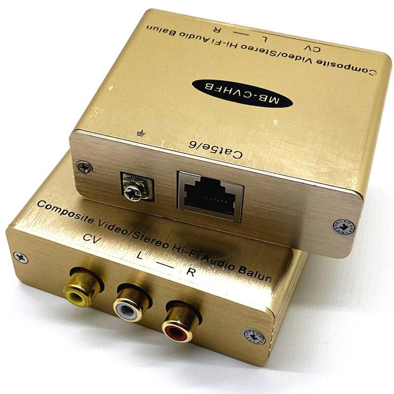 New AV Extender Red White Yellow Audio Video Twisted Pair Transmitter Composite Lotus AV To RJ45 Network Cable