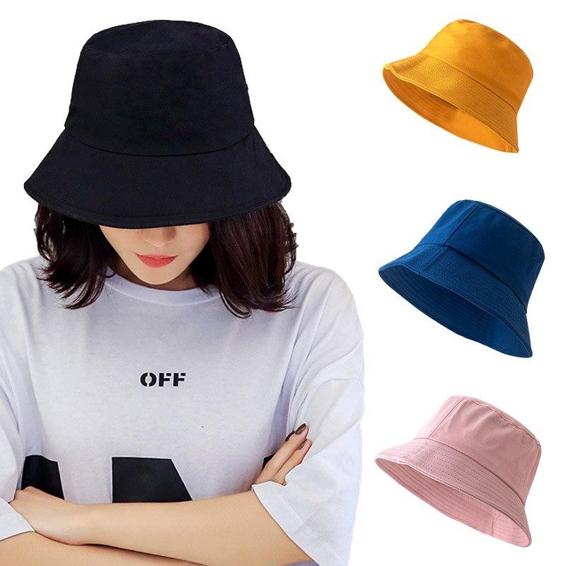 Корейские рыбацкие шляпы для женщин, Повседневная Уличная шапка для раковины, однотонные простые Панамы, шляпы от солнца, мужские шляпы с ко...