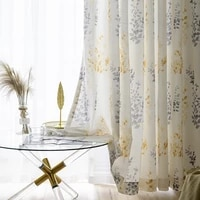 yellow gray crushed leaves half american country cotton printed curtains shading curtains living room bedroom balcony