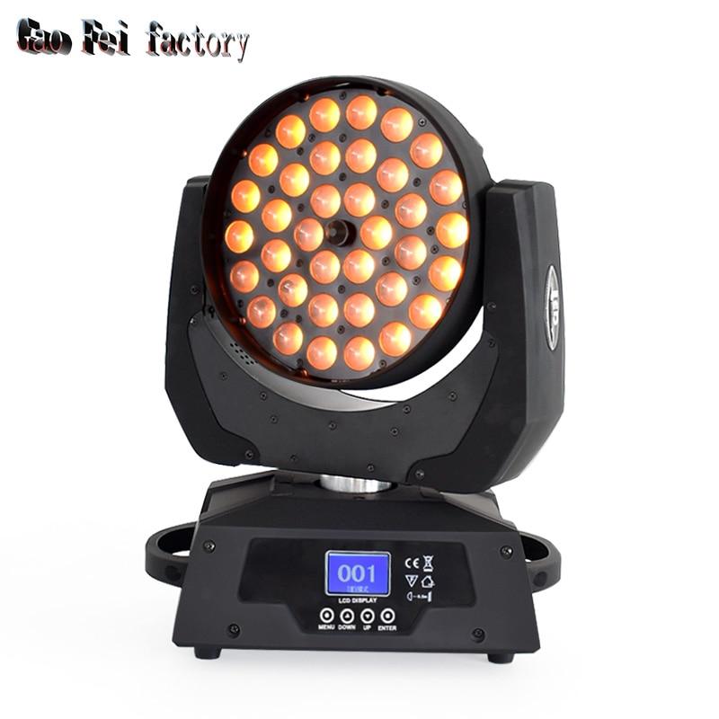 Foco LED con cabezal móvil zoom wash con efecto de haz 36x18W RGBWA UV por control DMX para luz de discoteca led