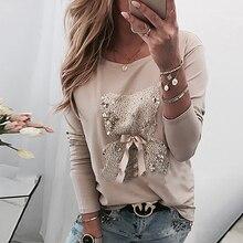 Женские повседневные футболки с длинными рукавами, круглым вырезом и бантиком, весенне-осенняя женская футболка
