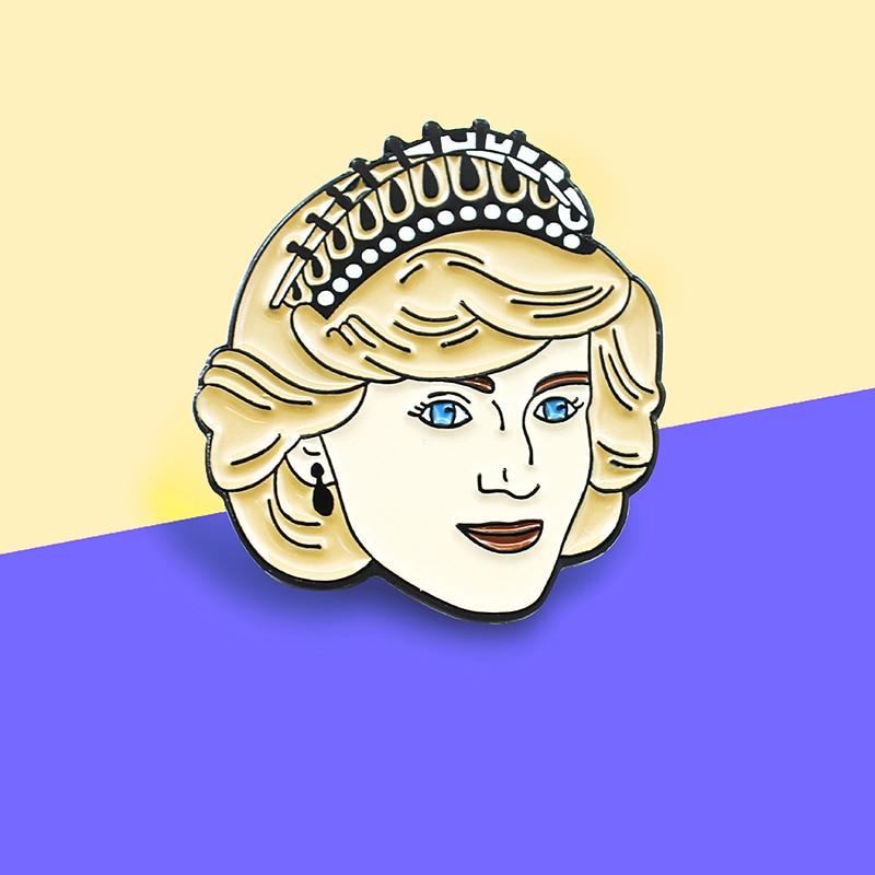 Princess Diana Spencer Enamel Pins Brooch Vintage Anniversary Princess Diana Badge Coat Backpack Lapel For women Friends Gifts