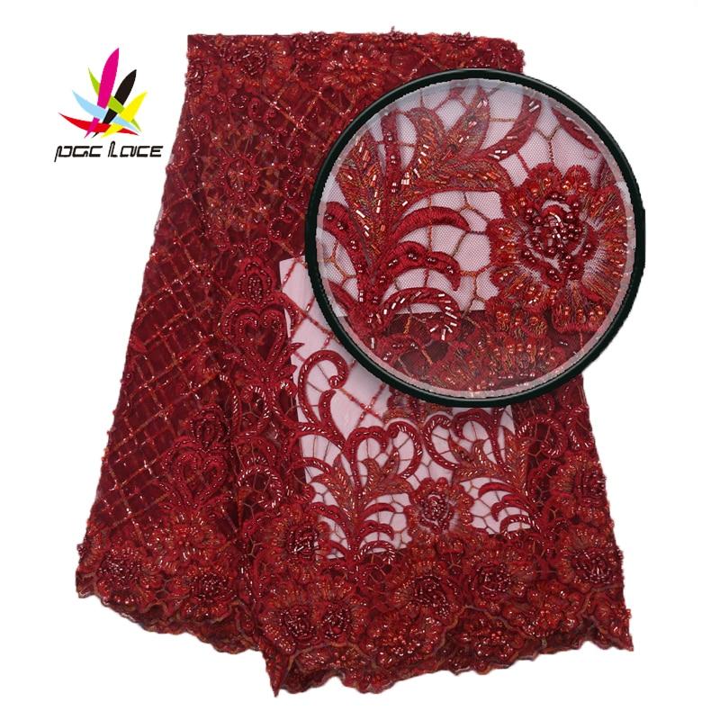 Feito à Mão Tecido do Laço para Nupcial 2021 de Luxo Africano Rendas Materiais Moda Tissu Vermelho Francês Malha Frisado Tecidos Xz2896b-3