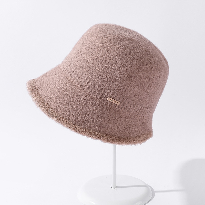Женская панама YQYXCY, зимняя Рыбацкая Кепка, повседневная однотонная корейская модная зимняя шапка с кисточками и полями, теплые шапки