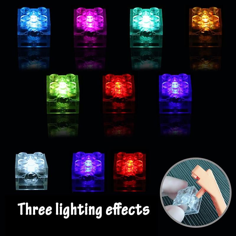 5 шт., 2x2 точечный светодиодный светильник, цветные аксессуары, классический кирпич, образовательный светильник, совместимый со всеми бренда...