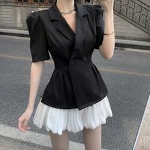 2PCS Women Summer 2021 Blazer Coat + Short Skirts Sets Elegant Short Sleeve OL Suits Korean Ladies C
