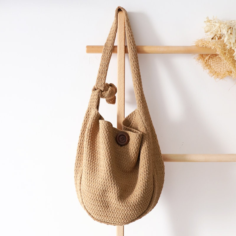 dusun summer bucket bag hand woven hollow out mesh shoulder handbag shopping bag vintage knitting large capacity women beach bag vintage knitting large capacity totes woven women shoulder messenger bag casual summer beach straw bag ladies travel purses 2020