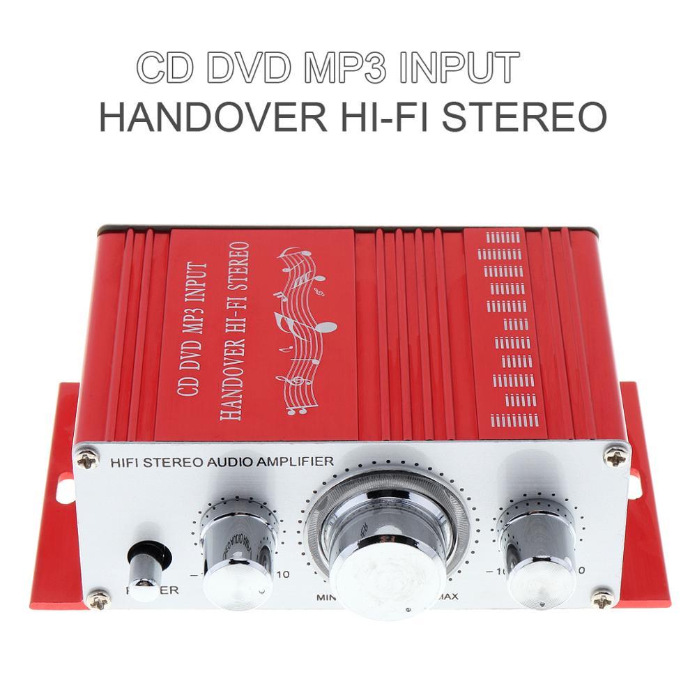 DC 12V 12V мини-усилитель мощности для автомобиля мотоцикла домашняя Лодка Авто стерео аудио усилитель 2 канала цифровой Hi-Fi Amp поддержка CD DVD MP3