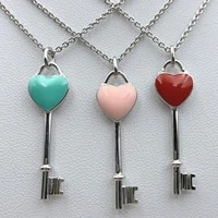 classic heart key pendant necklaces 11 s925 sterling silver logo jewelry for women ladies holiday birthday party gift