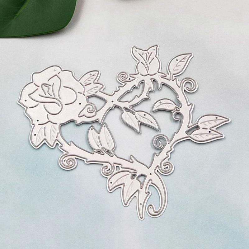 Heart Rose Shaped Cutting Dies Carbon Steel Frames DIY Scrap Booking Photo Album Embossing Paper Cards