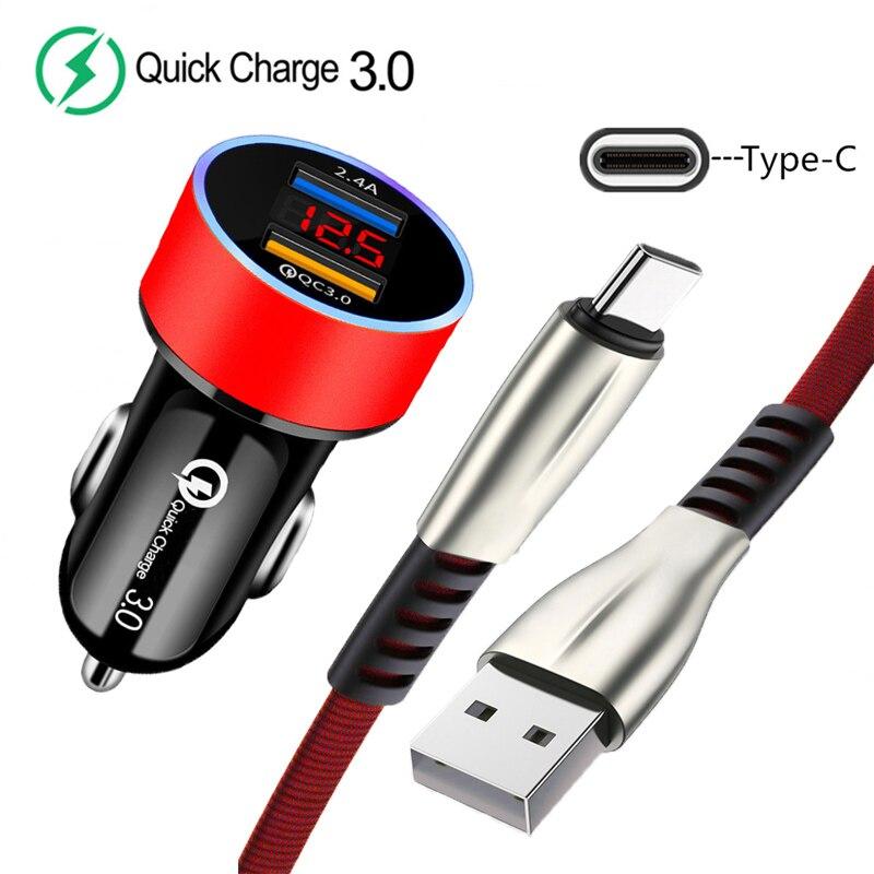 Автомобильное зарядное устройство USB QC 3,0, светодиодный дисплей, зарядное устройство для телефона Xiaomi Mi 8 9 10 Lite 9T Redmi 9 8A Note 8T 8 9 Pro 5A Type-C, usb-кабель для передачи данных