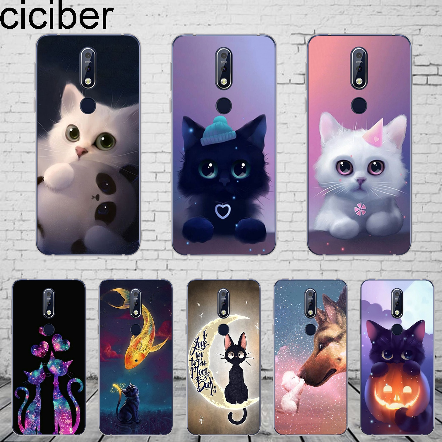 Ciciber Mignon Animal Chat Housse Pour Nokia 8 7 7.1 6 6.1 5 5.1 3 3.1 2 2 Plus 9 PureView Étui Pour Nokia X7 X6 X5 X3 TPU Souple