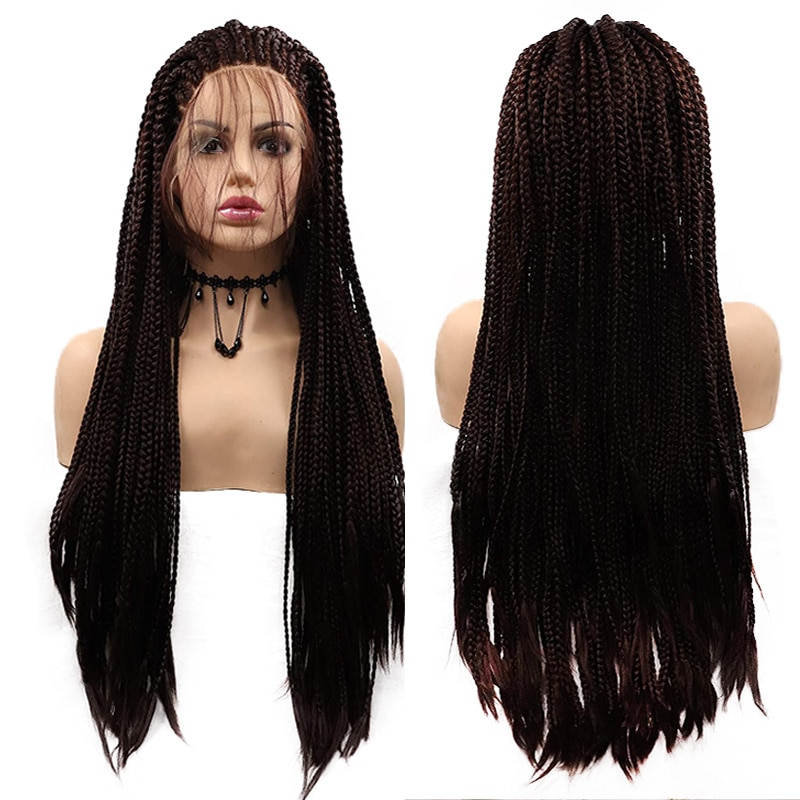 Black Braided Wigs Micro Braided Lace Frong Wigs for Black Women Long Braid Synthetic Hair Wig with Baby Hair Best Soft Lace Wig