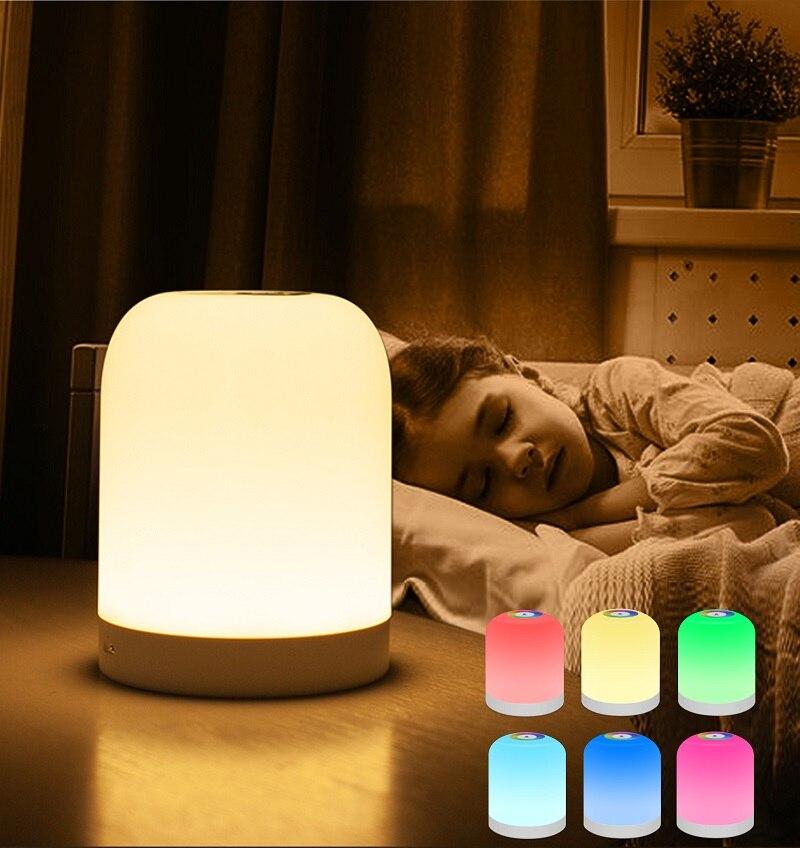 Портативная Ночная лампа с умным цветным сенсором, цветной RGB перезаряжаемый ночник для дома, спальни, внутреннего освещения