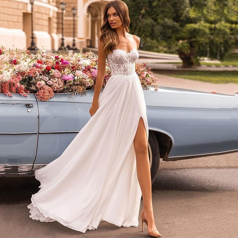Get Modest Vestido de Noiva 2021 Beach Wedding Dress Chiffon Lace Bride Dresses Split Side Sweep Train Sexy Wedding Gowns Sweetheart