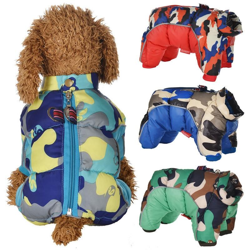 Зимняя одежда для маленьких собак, светоотражающая одежда для щенков, теплый водонепроницаемый костюм Французского бульдога, среднее паль...