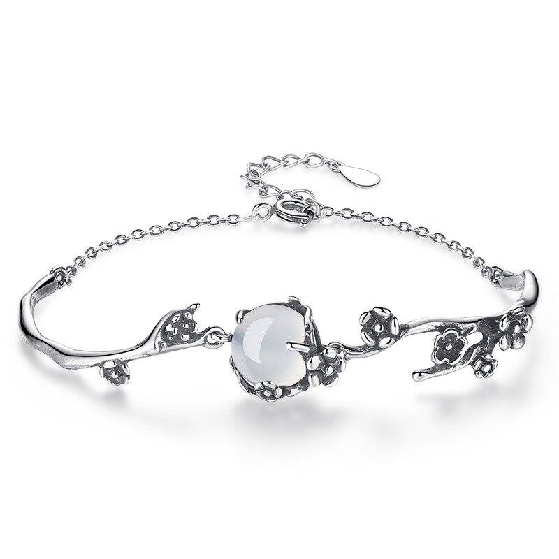 Modaone moda do vintage thai prata pulseira branco luar pedra ameixa flor 925 prata esterlina pulseira pulseira