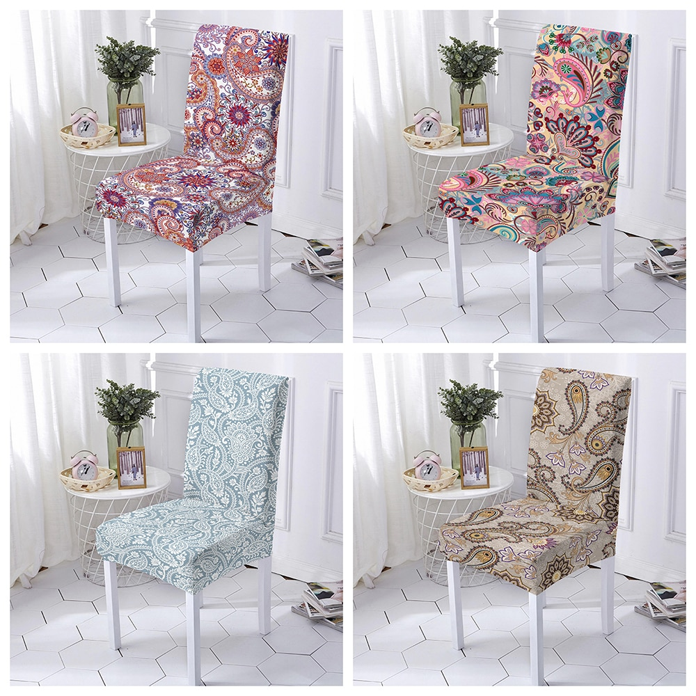 Фото - 1/2/4/6 Pcs Elastic Floral Print Chair Cover Stretch Spandex Dining Chair Slipcover Universal Size Chair Case for Wedding Hotel straight stretchable chair cover 4 pcs black