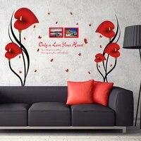 Autocollants muraux romantiques en Anthurium rouge  fleurs papillon  cadre Photo  citations  decor de maison  vinyle amovible  PVC  decoration de chambre a bricolage