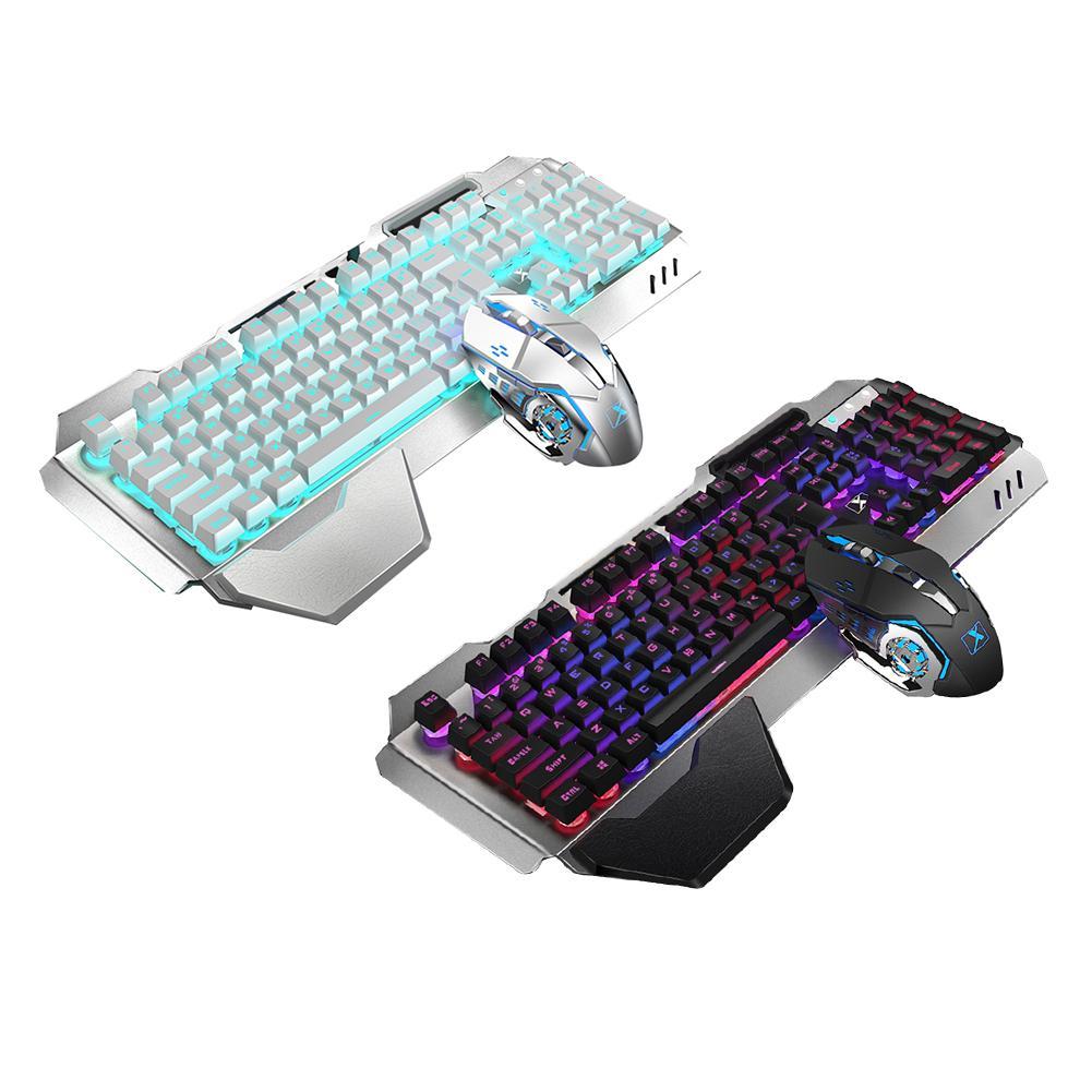 لوحة مفاتيح وماوس ميكانيكي متين, لوحة مفاتيح وماوس كومبو بتصميم دقيق K680 2.4G لاسلكية قابلة لإعادة الشحن بإضاءة خلفية ذات ملمس ميكانيكي