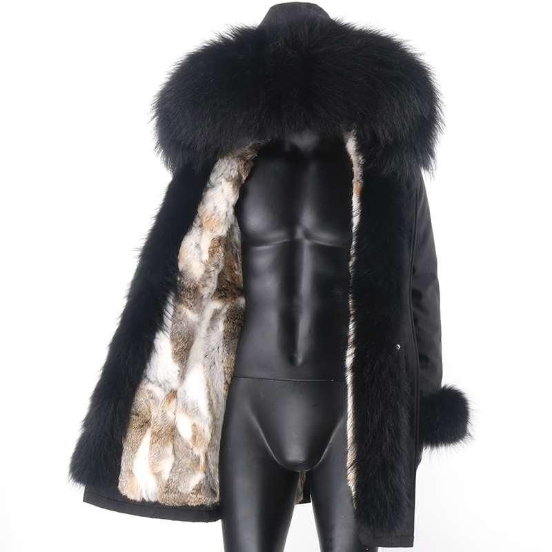7XL الرجال سترة مضادة للماء معطف الفرو الحقيقي الطبيعية الراكون الفراء طوق هود ريال الأرنب الفراء الملابس 2021 الشتاء سترة الموضة