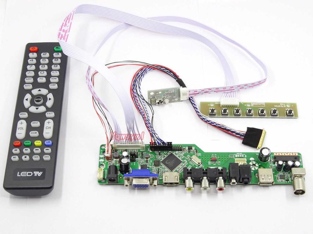 Yqwsyxl Kit para B156XW02 V2 HW5A TV + HDMI + VGA + AV + USB LCD pantalla LED controlador de la Junta