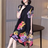 chinese style improved cheongsam temperament loose large size miyake pleated dress 2021 summer new womens printed a line dress